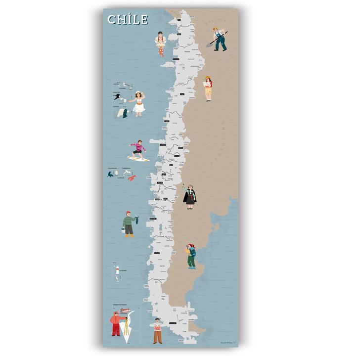 LAMINA MAPA RASPABLE DE CHILE
